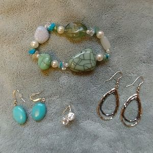 3 pair earrings and 1 bracelet CUTE!!